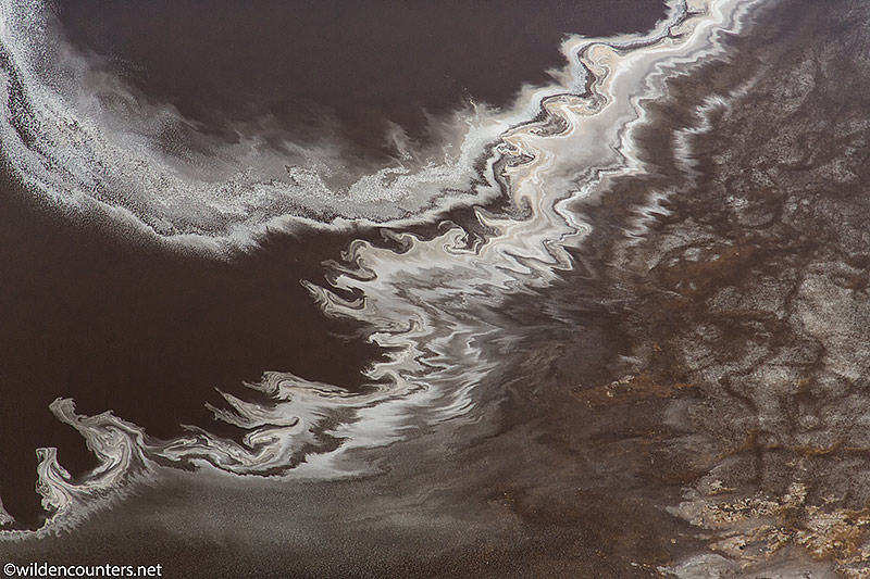 Aerial view of evaporated sodium compound trails on the surface of Lake Natron Tanzania, Canon 5D MK3, Canon-24-105mm f4 IS lens, handheld, 1/6,400 sec, f4, ISO 400, AV a t-1