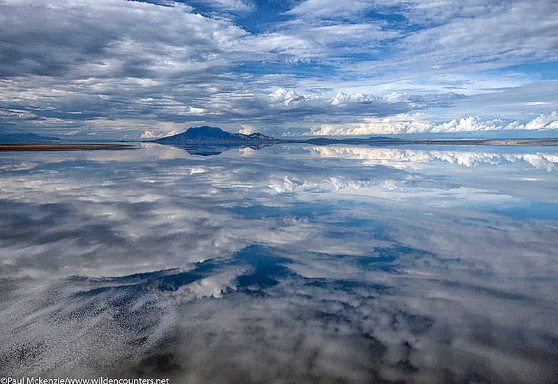11. Mount Shompole and clouds with reflections on Lake Natron, Tanzania (aerial shot)